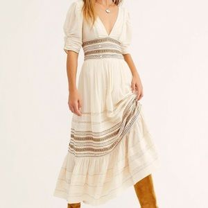 Free People Delicacy Boho Peasant Dress cream